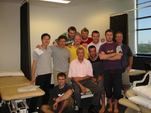 WIth fellow students and Manual Therapy Guru Prof. Bob Elvey at Curtin University Master of Manual Therapy 2002