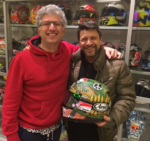 Nicky Hayden's Arai helmet, Roberto Marchionne (Starline) and Alfredo Dente